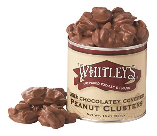 Whitley's Milk Chocolatey Covered Peanut Clusters 10 Ounce Tin (With Brittle Peanut Chocolate)
