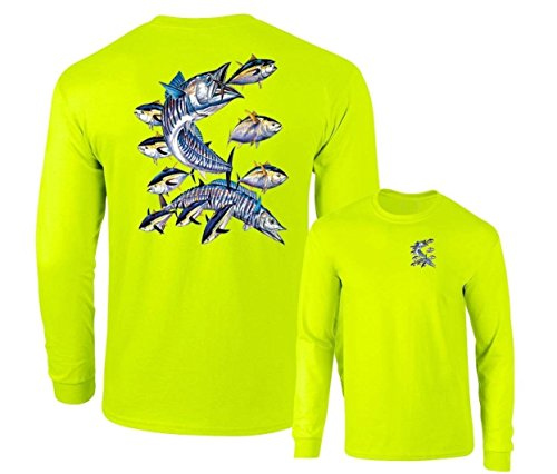 Wahoo Fish Albacore Yellowfin Tuna Fishing Long Sleeve T-Shirt,Safety green,XXXL