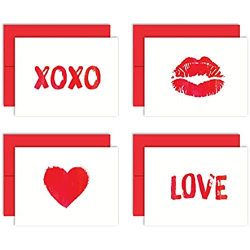 Little Love Notes - Set of 8 Blank Note Cards + Red Envelopes - 4 Unique Designs - By Palmer Street Press Sales