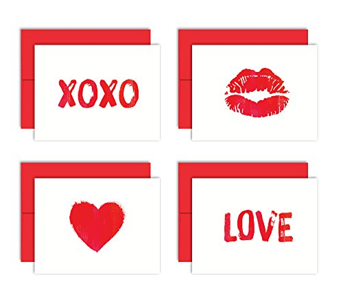 Little Love Notes - Set of 8 Blank Note Cards + Red Envelopes - 4 Unique Designs - By Palmer Street Press