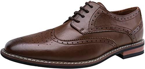 JOUSEN Men's Oxford Classic Wingtip Brogue Formal Dress Shoes (10.5,Dark Brown-1)