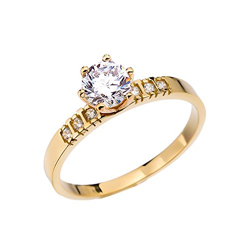 Diamond 14k Yellow Gold Solitaire Engagement Ring With 1 Carat White Topaz Centerstone (Size 7.5)
