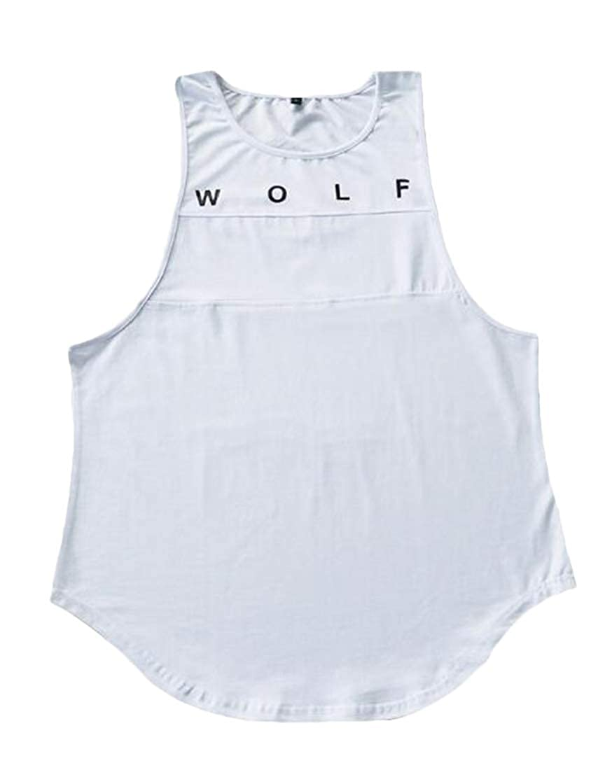 Jotebriyo Men Printed Fitness Summer Fast Dry Sleeveless Jersey T-Shirt Tank Top Vest