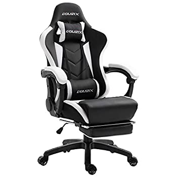 Dowinx Gaming Chair Ergonomic Racing Style Recliner with Massage Lumbar Support, Office Armchair for Computer PU Leather E-Sports Gamer Chairs with ...