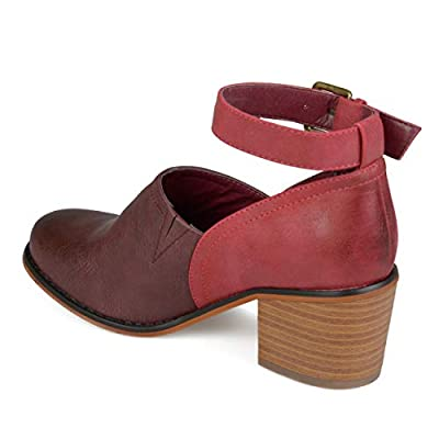 Brinley Co. Womens Faux Leather Wood Stacked Heel Ankle Strap Clogs | Mules & Clogs