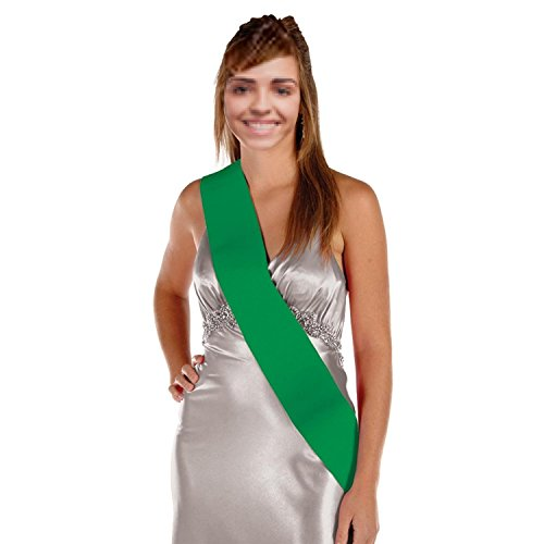 Pack of 6 Blank Customizable Green Satin Sashes 33""