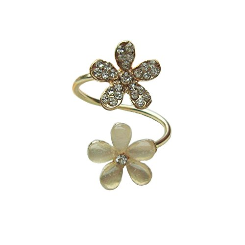 Rhinestone Flower Fashion Ring (Hosaire Fashion Crystal Flower Ring with Rhinestone Open Rings Wedding Jewelry For Women-It Can Be Adjustable)