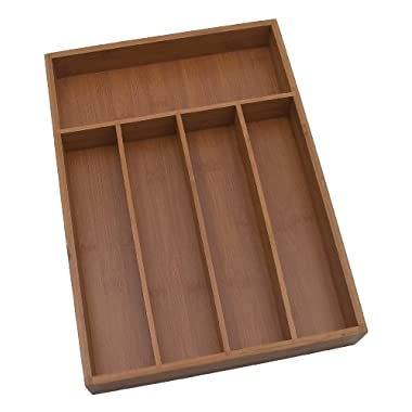 Lipper International 8876 Bamboo Flatware Organizer, 5 compartments, 10-1/4 x 14 x 2 -Inch