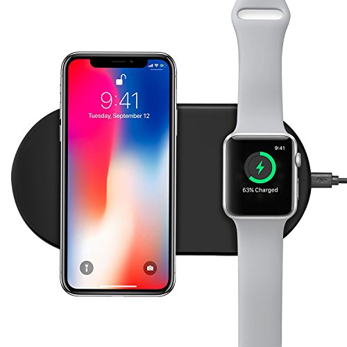 ORBMART Wireless Charger, 7.5W Wireless Charging for iPhone X / 8/8 Plus, 10W Fast Wireless Charging Pad for Galaxy S9/S8/S8 Plus/Note 8, Charger Station for Apple Watch Series 3/2/1 (Amp Charger)
