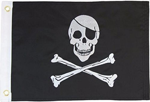 12x12 Bone (Pirate 12x18in Grommeted Embroidered Flag)