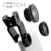 Phone Lens Kit / Clip by CATCH | FishEye+Macro+Wide Angle | 3 in 1 | iPhone 6 6S 6P 7, Samsung Galaxy Note & Most Smartphones + Tablets