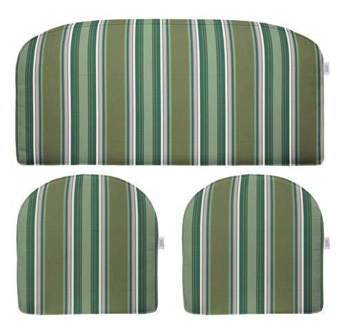RSH Décor Indoor ~ Outdoor Outdura Sail Away Hunter 3 Piece Cushion Set - Foam Loveseat Settee & 2 Matching U-Shape Chair Cushions (Hunter Settee)