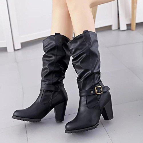 Botas Mujer,Ouneed ® Forme a señora las mujeres el invierno Estilo retro botas de hebilla botas de martin Negro