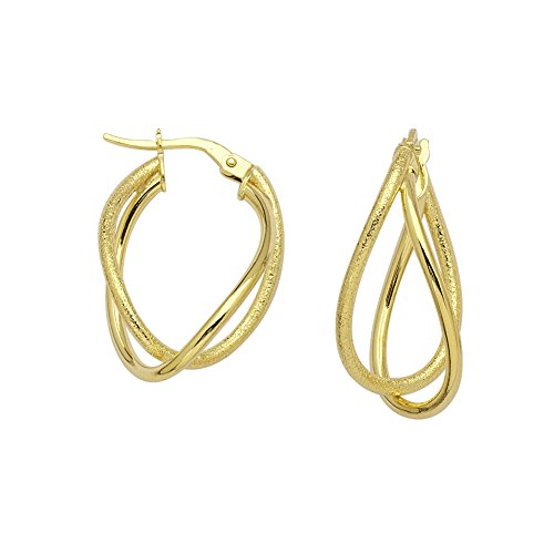 14k Yellow Gold Intertwined Double-loop Hoop Earrings with Smooth Design