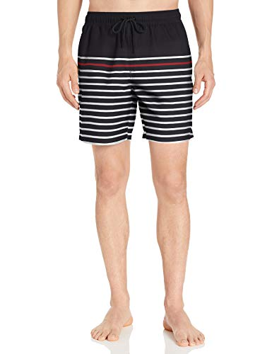 Amazon Essentials Herren Badehose 17,8 cm, Black/Red Small Stripe, X-Small