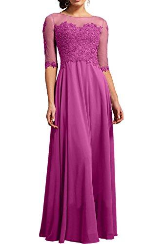 Jugendweihe Damen La Langarm 4 3 Partykleider Abendkleider Spitze Braut mia Pink Brautmutterkleider Kleider Ballkleider EqrwqzZ