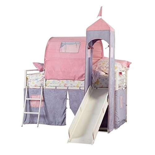 Fun Castle Loft Bed for Girls with Slide
