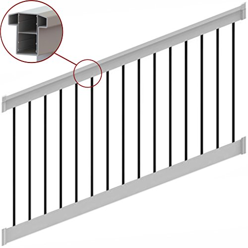 (T-Top Stairl Rail Vinyl Kit White with Round Aluminum Balusters (8 ft. x 36 in.))