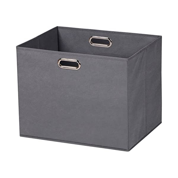 Prorighty 2-Pack Jumbo Storage Bins | Largest Basket 17.7 inch Dual Metal Handles | Foldable Containers, Boxes, Tote, Baskets| for Offices, Nursery, Toys, Laundry, Gifts| Household Organization| Grey