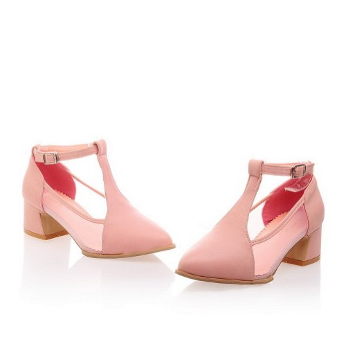 Pointed Sandals Heels WeenFashion Solid B Material PU Womans Pink Kitten 5 9 Soft Closed US M wqzECqIH