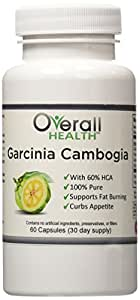 100% Pure Garcinia Cambogia Extract 1600 mg (2 capsules) - With 60% HCA for Maximum Weight Loss - 30 Day Supply by OverallHealth