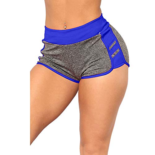 iLUGU Womens Sports Yoga Camis Running Work Out Pants Shorts Yoga Vest Disco Stretch Tracksuit Blue