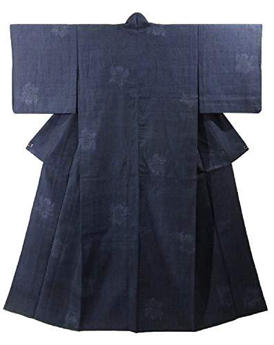 鼓舞する説明愛撫リサイクル 着物 紬 ひとえ 花模様 裄61cm 身丈152cm 正絹