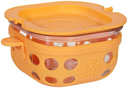 Lifefactory 1-Cup BPA-Free Glass Food Storage & Bakeware with Protective Silicone Sleeve & Lid, Orange