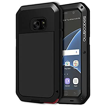 Seacosmo Galaxy S7 Case, Shockproof Dustproof Rainproof Military Grade Full Body Protective Case with Tempered Glass Screen Protector Heavy Duty Rugged Drop Resistant Case for Samsung Galaxy S7, Black