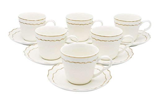 LA Prestige Kitchen Graceful Coffee or Tea Set of 6 China Cups and Saucers with Gold Rim 6 oz (Double Line Gold Rim)