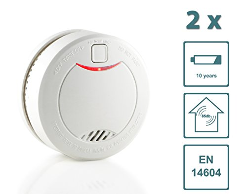 Slabo Smoke Detector/Fire Detector/Fire Alarm with 10 Year Battery Life and Photoelectric Sensor – WHITE – 2-Pack