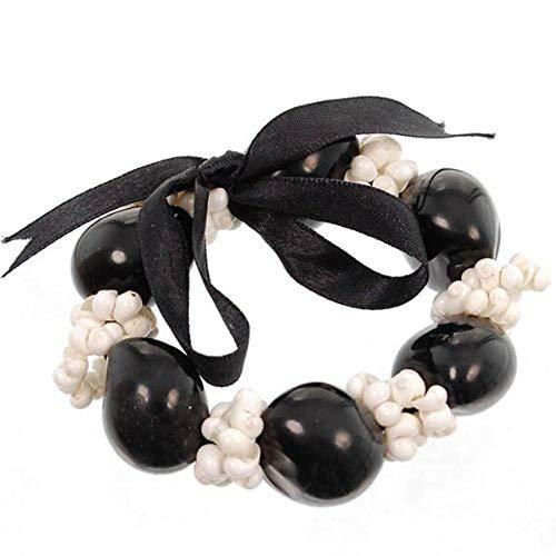 - Hawaiian Lei Bracelet of Kukui Nuts and White Mongo Shells