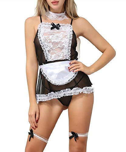 ANJAYLIA Women Lace French Maid Costume Sexy Cosplay Costume (Black Maid)]()