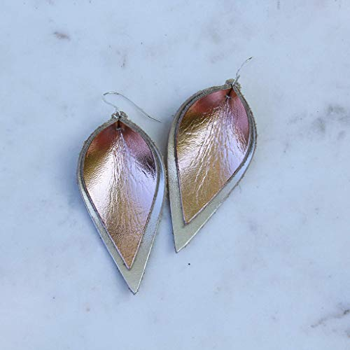 Genuine Leather & Sterling Silver Leaf Earrings // Rose Gold on Gold // Joanna Gaines Inspired