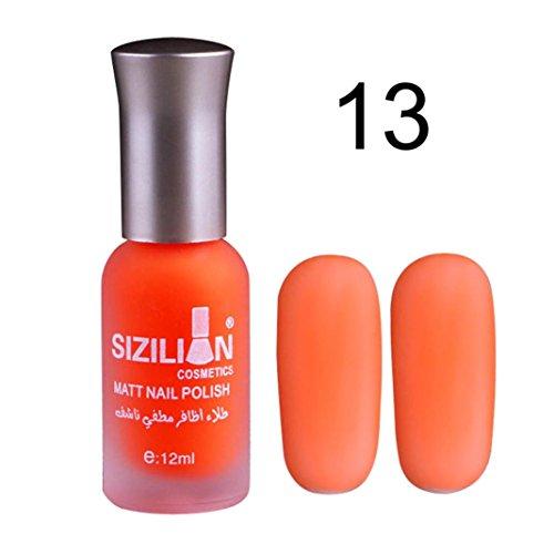 Matte Dull Nail Polish XUANOU 12ml Fast Dry Long Lasting Nail Art Matte Nail Polish Gel (Orange)