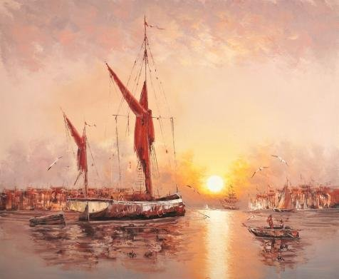 Oil Painting 'Sunset Seascape With Ships,Sea Gulls', 24 x 29 inch / 61 x 74 cm , on High Definition HD canvas prints is for Gifts And Bed Room, Gym - Price Funk Sunglasses