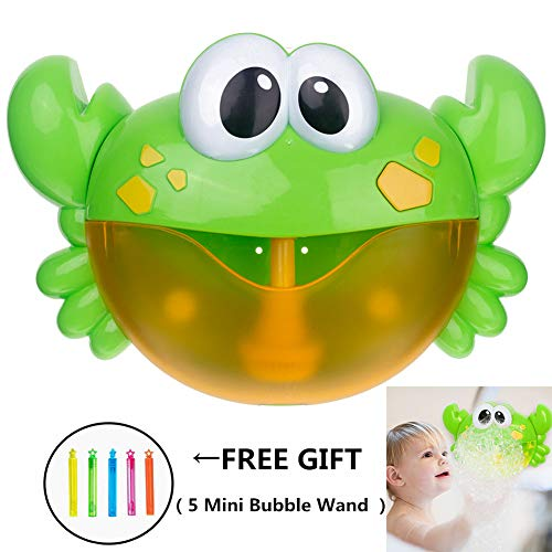 CHILEELOVE Bath Bubble Maker Bluetooth Crab Bubble Machine Automatic Bubble Blower Maker for Children Baby Boys Girls Funny Washing Toy,Bathroom Music Plaything Bauble with 5 Mini Bubble Wand Gift