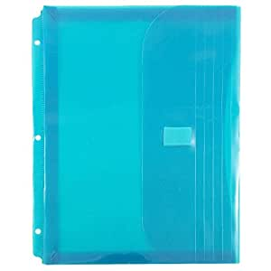 JAM Paper® Plastic Binder Envelopes with VELCRO® Brand Closure & 3 Hole Punch - Letter Booklet Size (8 5/8 x 11 1/2) - Teal - 12 Envelopes per Pack
