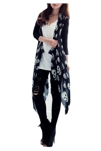 Black Skull Sweater (CA Mode Women's Skull Print Open Cardigan Asymmetric Blouse Top Black M to L,Black,M to L)