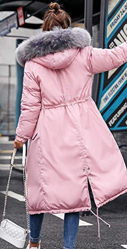 Femme Longue au Veste Manteau Doudoune Cotton Fourrure Rose Vent Genou Fausse Coup Lache gris avec Magike TEwq5InI