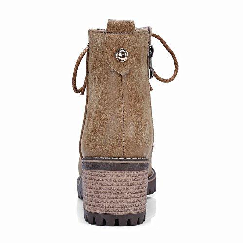 Mee Shoes Damen Blockabsatz Reißverschluss Stiefeletten Braun