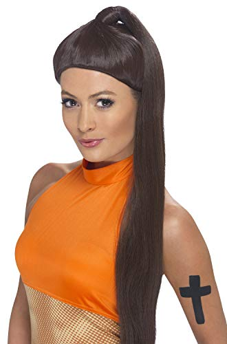 Smiffys Women's Sporty Girl Power Brown Wig with High Ponytail, One Size, -