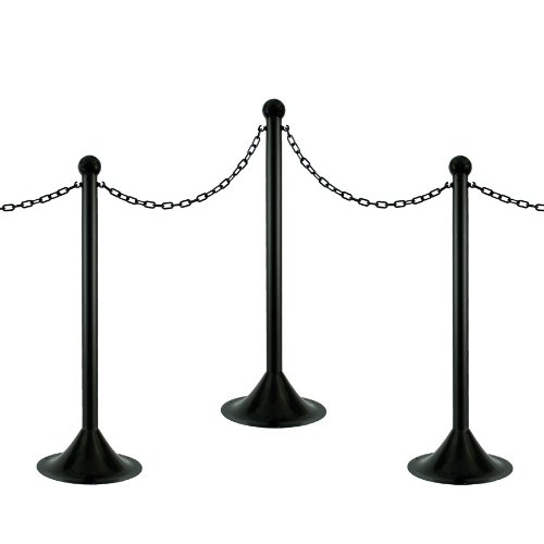 Stanchion Chain (Mr. Chain 71003-6 Black Plastic Stanchion Kit with 50' of 2