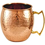 Hammered Pure Copper Moscow Mule Mug with brass handle, made by Alchemade