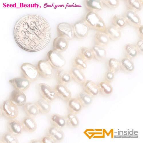 FidgetKute 5-6x7-8mm Freeform Freshwater Cultured Side Hole Pearl Gemstone Loose Beads 15