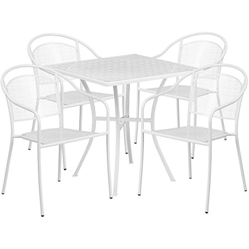 MFO 28'' Square White Indoor-Outdoor Steel Patio Table Set with 4 Round Back Chairs