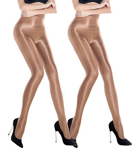 2 Pairs Shaping Socks Oil Socks Shiny Silk Stockings Pantyhose Dance Tights (Champagne 2) by RICHTOER (Image #1)
