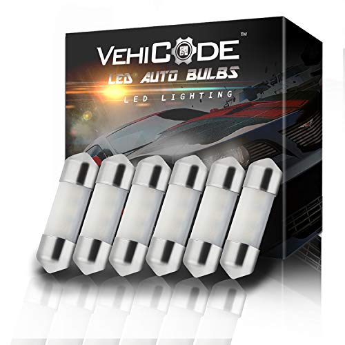 VehiCode Low Voltage 12V DE3175 3175 DE3022 3022 LED Light Bulb (Warm White) - 30-31mm Festoon 9-SMD 3014 Chipset for Car Interior Map Dome Trunk Courtesy License Plate Light Lamps (6 Pack) ()