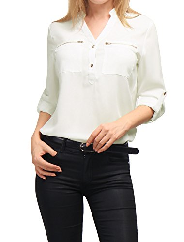 Allegra K Women's Stand Collar Zipped Pocket Chiffon Shirt XL White (Sale Deals)