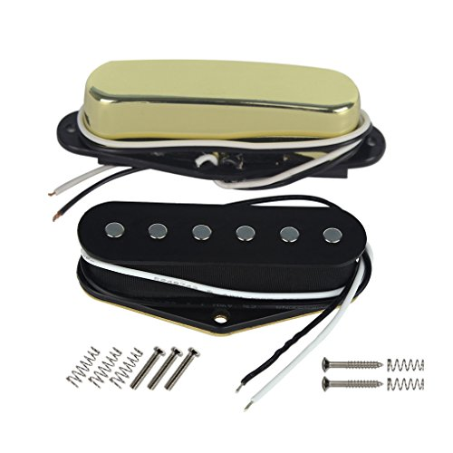 FLEOR Tele Bridge Pickup & Neck Pickup (Golden) Tele Pickup Set Fit Fender Tele Guitar Part